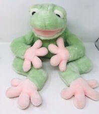 "22"" Big FAO SCHWARZ Baby Mint Green Pink Tree Frog Stuffed Animal Plush Toy"