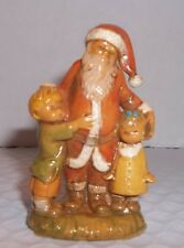 """Fontanini Santa Claus with Little Boy & Girl, 3"""" Marked with Spider Dep Italy"""