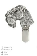 Kerry Blue Terrier, silver covered clipring, number holder, qauality Art Dog Ca