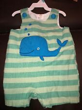 Sz 6 12 M Little Wishes Whale Romper Green Blue Euc Outfit Jon Jon