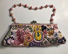 Fashion Express Lovely Pink Satin Embroidered & Beaded Strap Clutch Purse