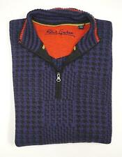NEW $598 ROBERT GRAHAM 100% CASHMERE PURPLE ANAK HOUNDSTOOTH SWEATER SIZE XL