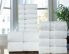 Towel Set 12 PC White Set 100% Cotton 600GSM 2 Bath 4 hand 6 wash  Excel Hometex