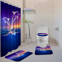 4pcs/set Shower Curtains Rugs Toilet Seat Cover Bathroom Set  With 12 Hooks