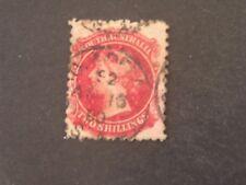 South Australia, Scott # 74, 2/-.Value Carmine 1876-84 Qv Issue Used