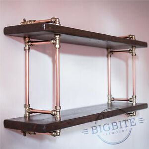 Copper Pipe and Brass Reclaimed Wood Bookshelf: Industrial 2 Shelves Wall Unit