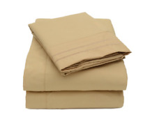 New Sweet Home 2000 Collection Microfiber Full 4 Piece Sheet Set, Beige