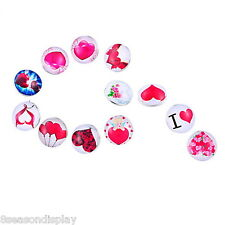 12PCs Snap Buttons Fit Snap Bracelet Rhinestone Heart Pattern Mixed 18mm