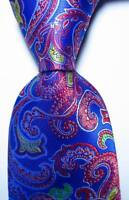 New Classic Paisley Blue Red White JACQUARD WOVEN 100% Silk Men's Tie Necktie