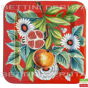 Piatto Vassoio Quadrato Deruta dipinto a mano fruttiera centrotavola Melagrane
