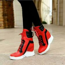 Fashion Women's Wedge Heel High Top Ankle Boots Lace Up Platform Shoes Sneakers