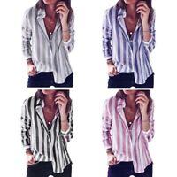 Camicetta delle camicie di lino casual da donna a manica lunga a righe a ma V1U6