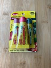 New Unopened Carmex 3pc Lip Balm Cherry+Strawberry+Winterg reen Squeezy Spf 15