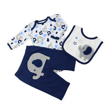 Cute Elephant-Print Romper Set Outfit Clothing for Newborn Baby Doll Reborn