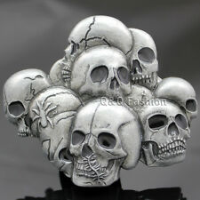Vintage Silver Western Multi Skull Head Skeleton Spider Belt Buckle Goth Biker