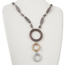 Wood Bead Necklace 3 Circle Hoop Brown Gold Silver Jewelry