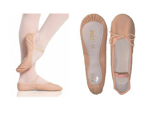 ROCH VALLEY Pink Leather Ballet Shoes & Elastics. All Sizes Childrens & Adults