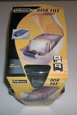 "Fellowes Disk File Storage Box Holds 50 3.5"" Disks Dividers 2001 New Never Used"