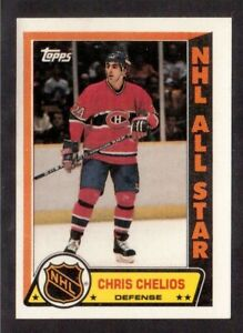 TOPPS 1989-90 STICKERS # 1 CHRIS CHELIOS, MONTREAL CANADIENS !!D4