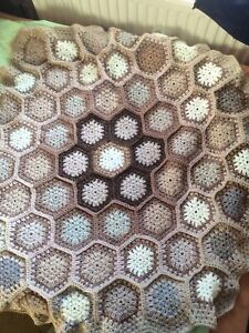 Newly Crocheted Hexagonal Throw/ Rug