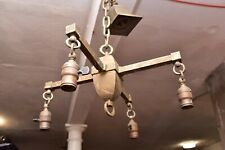 New listing Atq Arts Crafts Mission Brass Bronze Ceiling hanging Light Fixture Chandelier.