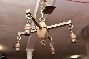 ATQ Arts Crafts Mission Brass Bronze Ceiling hanging Light Fixture Chandelier.