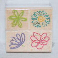 "SET of 4 POSY PETALS FLOWERS MOUNTED RUBBER STAMPS HERO ARTS NEW! each 1"" square"