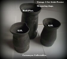 3  Irish Baluster Pewter Measuring  Jugs.1/2 Pint -2 x Gill.c 1888..AH1105