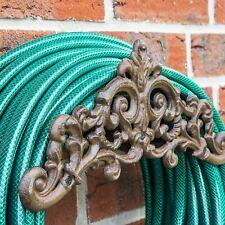 More details for cast iron garden hose holder antique design wall mounted reel storage stand