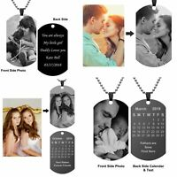 Stainless Steel Personalized Picture Name Word Bar Necklace Custom Engraved Gift