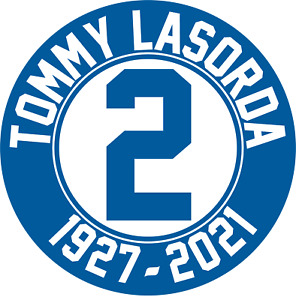 LOS ANGELES DODGERS DECAL / Tommy Lasorda 1927-2021 / Laminated Vinyl Sticker