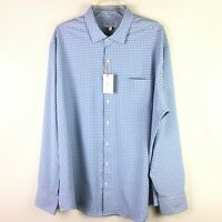 Peter Millar Men's Summer Comfort L/S Button Down Blue White Check Shirt XL NWT