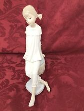 EXTREMELY RARE Lladro Sitting Girl with feet propped on Pillow