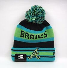 New Era Men's MLB Atlanta Braves Team Neon Green Bobble Knit Beanie Hat