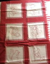 """1 yd Cotton Fabric Dark Red Work Sunbonnet Children Scenes 7"""" Squares"""