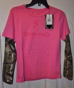Youth Girls Browning Buckmark Mossy Oak Ultra Pink Long Sleeve Shirt Size L-XL