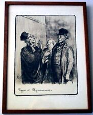 HONORE DAUMIER - TYPES ET PHYSIONOMIES - Lawyers Lithograph SIGNED 154/500