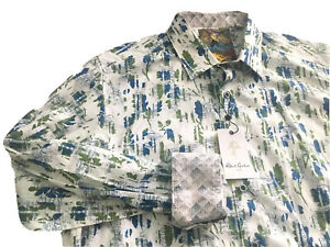 Robert Graham Men's Doud White Green Long Sleeve Shirt XL $198 NWT
