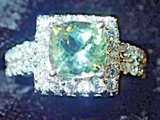 NATURAL  AAA GREEN AMETHYST & WH CZ SIZE 7 RING - 925 SILVER, 14K GOLD PLATE #35