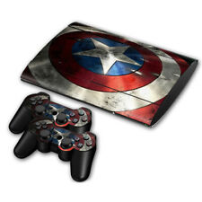 PS3 Slim 4000 Skin Sticker Decal Cover 2 Controllers CAPTAIN AMERICA SHIELD