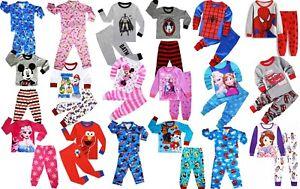 NEW SIZE 2-10 KIDS PYJAMAS WINTER BOYS GIRLS SLEEPWEAR TSHIRT TEE  NIGHTIES PJS
