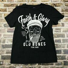 BERSHKA T-Shirt XS Faith & Glory Skeleton Sailor Pipe Old Bones Young Minds