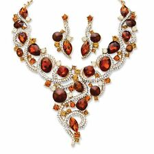 """Amber Crystal Yellow Gold Tone Necklace and Earrings Set 18"""""""