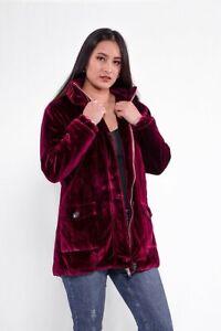 Women/Ladies Winter Velvet.Soft Parka Hoodie Jacket Maroon Dark Green Navy S M L