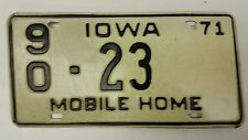 1971 IOWA Wapello County Mobile Home License Plate 90-23