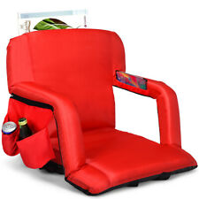 Stadium Seat Bleachers Portable Chair Reclining w/Backs and Padded Cushion Red