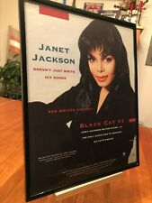 "2 BIG 11x14 FRAMED JANET JACKSON ""RHYTHM NATION"" LP ALBUM CD VIDEO PROMO ADS"