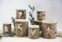 Christmas Rustic Wooden Log Birch Lantern With Glass Candle Holder Weeding Decor