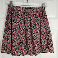 FOREVER 21 Size Small Pink & Black Floral Chintz Flare Mini Skirt Juniors Womens