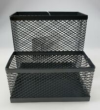 Metal Mesh Desk Organizer 2 Compartments Pen Holder
